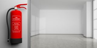 Fire extinguisher on a wall, blur empty room background. 3d illustration. Fire safety, Red fire extinguisher on wall, blur empty room background, text label. 3d Stock Photo