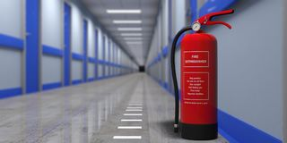Fire extinguisher on a wall, blur hospital corridor background. 3d illustration. Fire safety, Red fire extinguisher on wall, blur hospital corridor background Stock Images