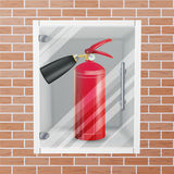 Fire Extinguisher In Wall Niche Vector. Realistic Red Fire Extinguisher Illustration. Red Fire Extinguisher In Wall Niche Vector. Metal Glossiness 3D Realistic Stock Image