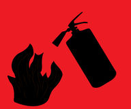 Fire Extinguisher which extinguishes fire on Red Background.  Stock Images
