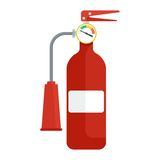 Fire extinguisher on white. Firefighter equipment and clothing, tools, accessories. Flat vector cartoon illustration. Objects isolated on a white background Royalty Free Stock Photography