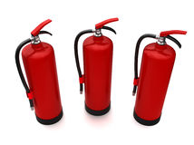 Fire extinguisher (XXL size). 3 fire extinguishers isolated on white (3d model Royalty Free Stock Photos