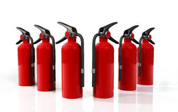 Fire Extinguishers. A group of six 3D red  Fire Extinguishers placed on a white reflective background Royalty Free Stock Photography
