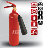 Fire extinguishers and alarm button. Pair of fire extinguishers on light background Stock Image