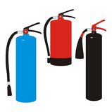 Fire extinguishers. Illustration of a set of three kinds of fire extinguishers isolated on white background Stock Photo