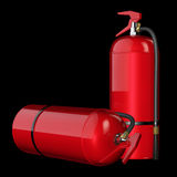 Fire extinguishers isolate on black background. 3D rendering Stock Photo