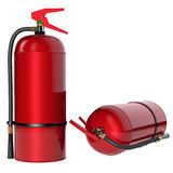 Fire extinguishers isolate on white background. 3D rendering Stock Photos