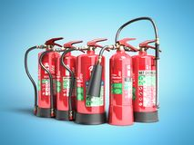 Fire extinguishers isolated on blue background Various types of. Extinguishers 3d illustration Stock Photo