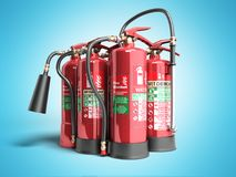 Fire extinguishers isolated on blue background Various types of. Extinguishers 3d illustration Stock Photography