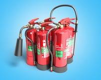 Fire extinguishers isolated on blue background Various types of. Extinguishers 3d illustration Stock Photography