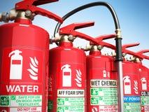Fire extinguishers isolated on blue background Various types of. Extinguishers 3d illustration royalty free stock photos