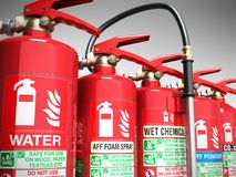 Fire extinguishers isolated on grey background Various types of. Extinguishers 3d illustration Stock Photo
