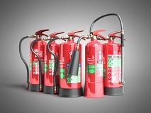 Fire extinguishers isolated on grey background Various types of. Extinguishers 3d illustration Stock Photos