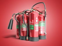 Fire extinguishers isolated on red background Various types of e. Xtinguishers 3d illustration Royalty Free Stock Image