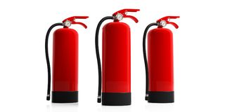 Fire extinguishers isolated on white background. 3d illustration. Fire safety, Red fire extinguishers isolated on white background. 3d illustration Stock Image