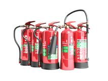 Fire extinguishers isolated on white background no shadow  Vario. Us types of extinguishers 3d illustration Royalty Free Stock Photo