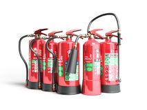 Fire extinguishers isolated on white background Various types of. Extinguishers 3d illustration Stock Photography