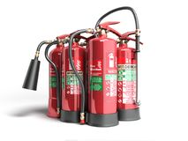Fire extinguishers isolated on white background Various types of. Extinguishers 3d illustration Stock Image