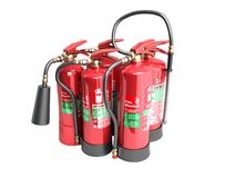 Fire extinguishers isolated on white background Various types of. Extinguishers 3d illustration no shadows Royalty Free Stock Image