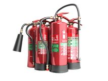 Fire extinguishers isolated on white background Various types of. Extinguishers 3d illustration no shadow Stock Image