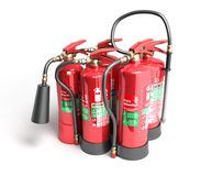 Fire extinguishers isolated on white background Various types of. Extinguishers 3d illustration Royalty Free Stock Images