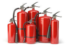 Fire extinguishers isolated on white background. Various types o. F extinguishers. 3d illustration Royalty Free Stock Photography