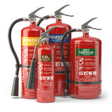 Fire extinguishers isolated on white background. Various types o. F extinguishers. 3d illustration Stock Photography