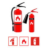 Fire extinguishers in realistic style and flat signs isolated on white background. Vector illustration. Stock Photography