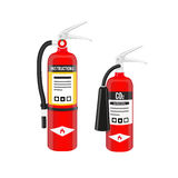 Fire extinguishers set in North American style isolated on white background. Vector illustration. Fire extinguishers set in North American style isolated on Royalty Free Stock Photo