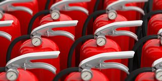 Fire extinguishers with silver handle, closeup view. 3d illustration. Fire safety. Group of red fire extinguishers with silver handle, closeup view, blur Royalty Free Stock Image