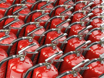 Fire extinguishers. Total potection and security background. 3d illustration Royalty Free Stock Image