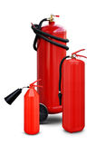 Fire extinguishers of various sizes Royalty Free Stock Photography