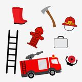 Fire extinguishers, vector cartoon illustration Stock Photos