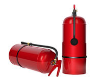 Fire extinguishers  on white background. Detailed illustration. 3D rendering Stock Photo