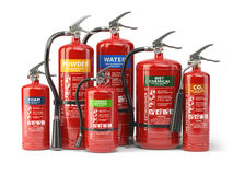 Fire extinguishers  on white background. Various types o. F extinguishers. 3d illustration Royalty Free Stock Photos