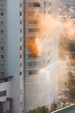 Fire extinguishing in high rise Stock Photo