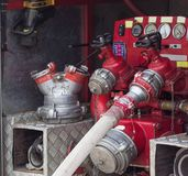 Fire extinguishing machine in a fire truck, close-up, equipment, fire engine royalty free stock photography