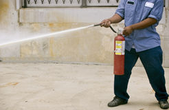 Fire Extinguishing Practice Royalty Free Stock Photo