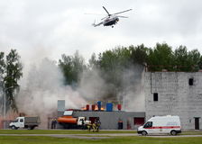 Fire extinguishing at the training ground of the Noginsk rescue center of the Ministry of Emergency Situations during the Internat Stock Photos
