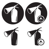 Fire extingusher icons set. Black and white icons Royalty Free Stock Photography