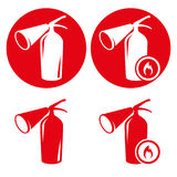 Fire extingusher icons set. Red icons on a white background Royalty Free Stock Photo