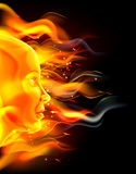 Fire Face Concept. Of a beautiful woman s face with flames. Could be a concept for the sun, summer or similar Stock Photos