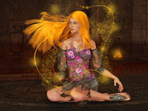 Fire Fairy. Beautiful fantasy dreamy 3d  illustration Stock Photos