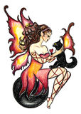 Fire Fairy and Feline Familiar Stock Image