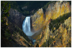 Fire Falls. Deep Canyon of Yellowstone National Park Stock Photos