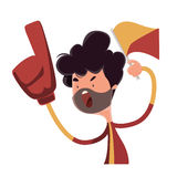 Fire fan cheering for his team  illustration cartoon character Royalty Free Stock Images