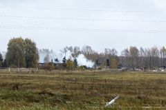 Fire in a farm, where died more than 30 cows, 23.10.2018, in Koknese, Latvia. Ruins of a fully burned farm, where died more than 30 cows, 23.10.2018, in Koknese royalty free stock photos