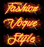 Fire Text Fashion Vogue Style. Fire Fashion Vogue Style word badges with burning flames Stock Photo