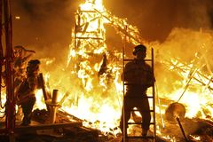 Fire festival. Typical bonfire held in march in valencia spain Royalty Free Stock Photography