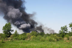 Fire in a field Stock Image